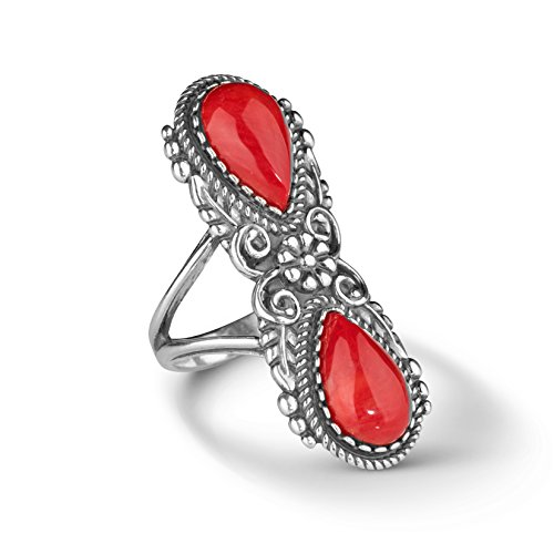 American West Sterling Silver Red Coral Gemstone Elongated Ring Size ()