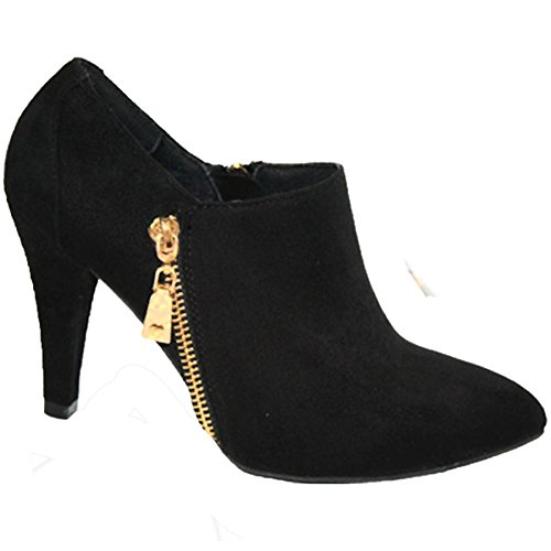 FANTASIA BOUTIQUE ® Ladies Pointed Toe Faux Suede Gold Zip Detail Medium Ankle Boots Heels Black mmZX5fI3b5