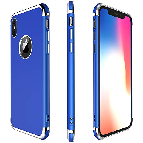 iPhone X Case, Meifigno 3 in 1 Hybrid Stylish Case,[100% Compatible with Wireless Charging], Urtal Silm Soft TPU & Hard PC Frames, Compatible for Apple iPhone 5.8 X (2017)-Navy Blue