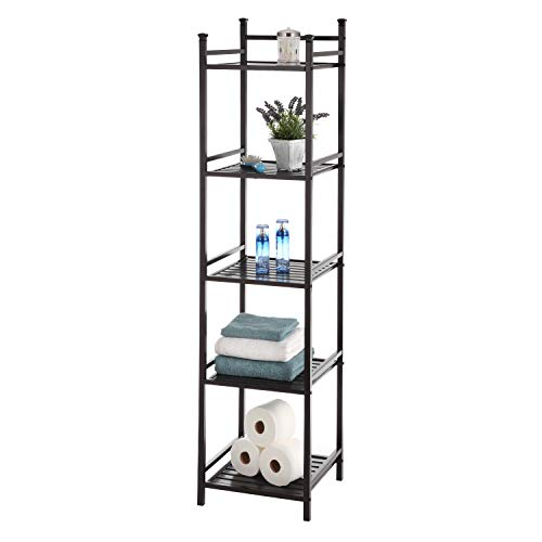 Home Zone 5-Tier Rustic Style Shelving Bathroom Space Saver, Oil-Rubbed Bronze Finish, Shelf Liner Included by Home Zone