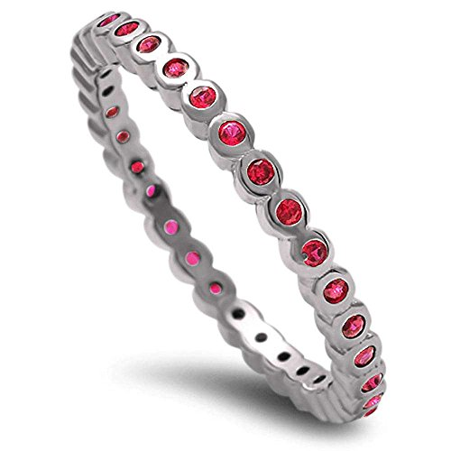 Simulated Ruby Eternity .925 Sterling Silver Band Size (Ruby Diamond Eternity Bands)