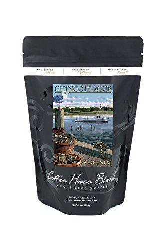Chincoteague, Virginia - Blue Crab and Oysters on Dock (8oz Whole Bean Small Batch Artisan Coffee - Bold & Strong Medium Dark Roast w/ (Oyster Roast)