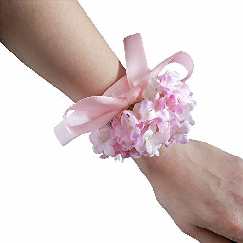 Artificial Silk Hydrangea Flower Diy Bride Wrist Corsage Women Hand Wedding Flowers Decoration (4, Pink)