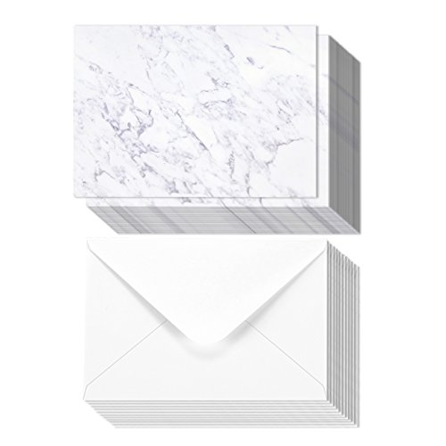 50 Pack Marble Gray Invitation Paper-For Weddings, Birthdays, Parties, Special Events – Blank Double Sided Paper – Includes Envelopes, 5 x 7 Inches