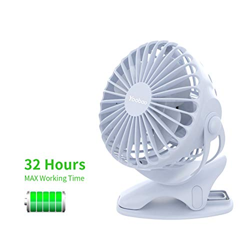 Yoobao Clip on Stroller Fan 6400mAh Battery Operated Portable Fan 32 Hours Rechargeable Mini USB Rotating Quiet Personal Desk Fan 4 Speeds for Baby Outdoors Bedroom Kitchen - Blue