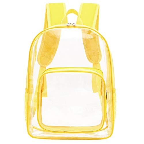 KCPer Large Clear Backpack Transparent Multi-Pockets Backpacks/Outdoor Backpack Travel Rucksack with Trim-Adjustable Straps & Mesh - Crossover Trim