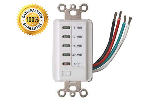 Bathroom Fan Auto Shut Off 30-15-10-5 Minute Preset Countdown Wall Switch Timer White 30-Minute