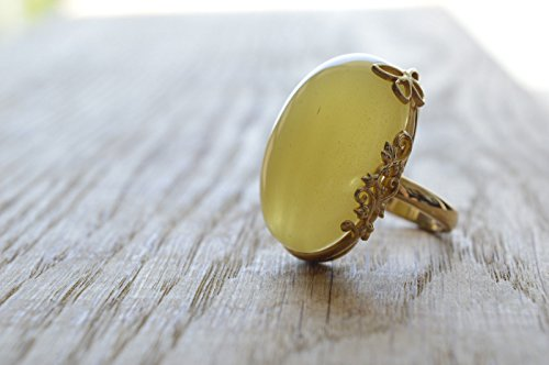 Egg Yolk Natural Amber Ring with Silver and Gold Nature Ornaments 10g Handmade