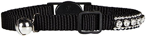 (Meow Town Nylon with Rhinestones Cat Collar, 3/8-Inch, Black by East Side Collection)