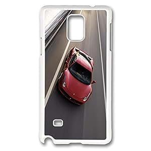 Galaxy Note 4 Case, Creativity Design Ferrari 458 Creativity Print Pattern Perfection Case [Anti-Slip Feature] [Perfect Slim Fit] Plastic Case Hard White Covers for Samsung Galaxy Note 4