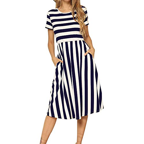 Toimothcn Women's Casual Striped Dresses Short Sleeve O Neck Loose Daily Dress with Pocket (Blue,L) (Black Target Nightstand)