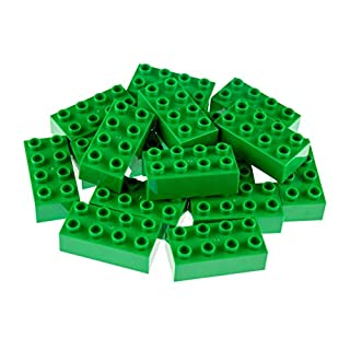 Strictly Briks Big Briks 16 Piece Green 2x4 Building Brick Creative Play Set - 100% Compatible with All Large Block and Brick Brands - Ages 3 and Up