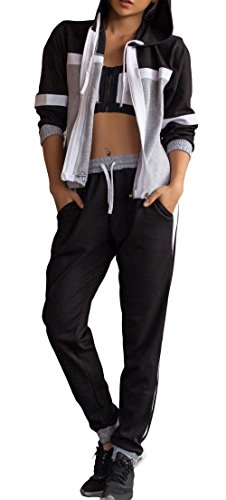 Lounge Zip Up Hoodie and 2 Piece Sweatpant Tracksuit Set (L, Black) (2 Sided Track Jacket)