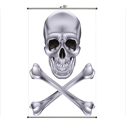iPrint Wall Hanging Picture Wall Scroll Poster Fabric Painting,Dangerous Scary Dead Skeleton Evil Face Halloween,3D Print Design Personality Customization Make Your Room unique23.6 -