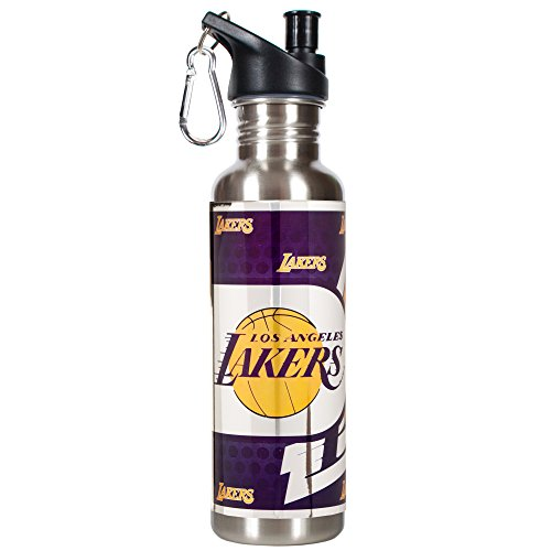 Great American Products NBA Los Angeles Lakers Steel Water Bottle with Metallic Graphics, 26 oz, Silver by Great American Products