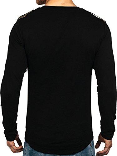BOLF Hombre Sudadera Manga Larga Suéter Jersey Cuello Redondo Camuflaje 1A1 Motivo Negro-Verde