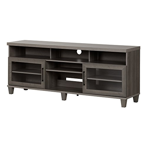 - South Shore Large TV Stand, Glass Doors, Fits TVs up to 75'', Gray Maple