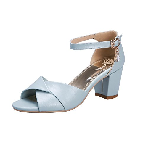 VogueZone009 Women's Solid Pu Kitten Heels Open Toe Buckle Sandals Lightblue smC3kkF