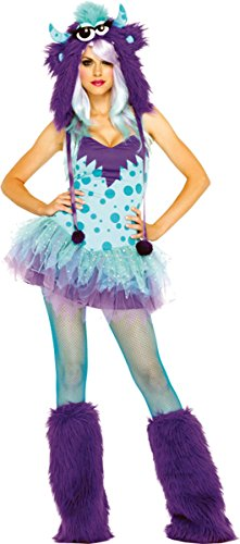 Monster Costumes - Leg Avenue Women's 2 Piece Polka Dotty Monster Costume, Aqua/Purple, X-Small