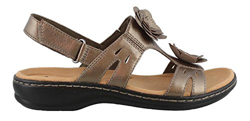 372814322438 CLARKS Women s Leisa Claytin Flat Sandal Pewter Metallic Leather 7 ...