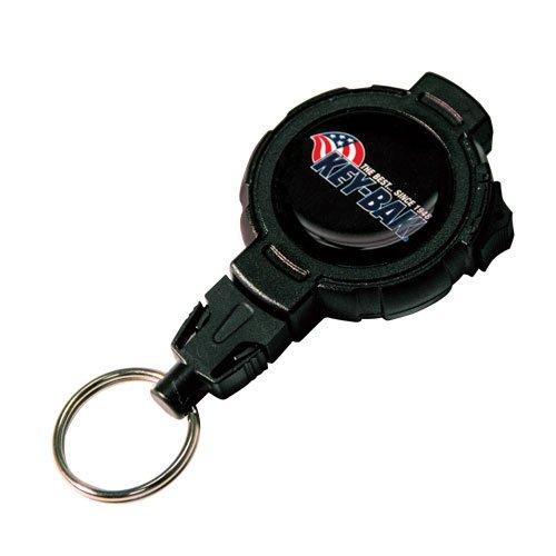 "Price comparison product image KEY-BAK LOCK48 Locking Retractable Key Holder with 48"" Kevlar Cord,  Retraction Lock,  Stainless Steel Swivel Belt Clip,  Black"