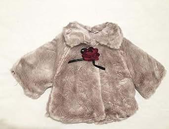 Kaluys Grey Fur Capelet Coat For Kids