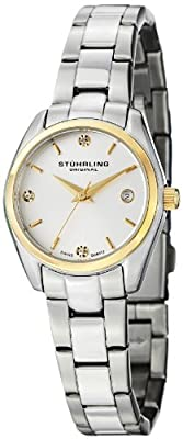 Stuhrling Original Women's 414L.03 Classic Ascot Prime Stainless Steel Bracelet Watch with Gold-Tone Bezel and Swarovski Crystals