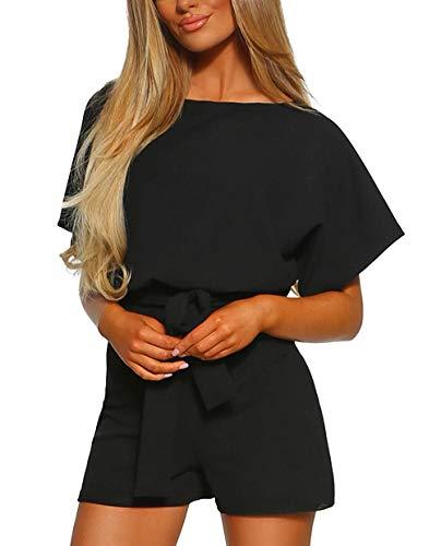 (KIRUNDO Women's Summer Solid Casual Short Sleeve High Waist Crew Neck Short Jumpsuit with Bow Belt (Large, Black) )