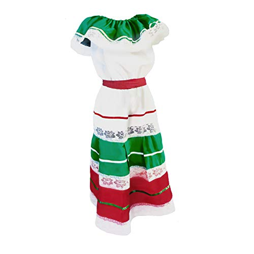 Women's Traditional Cinco de Mayo Fiesta Dress Costume White