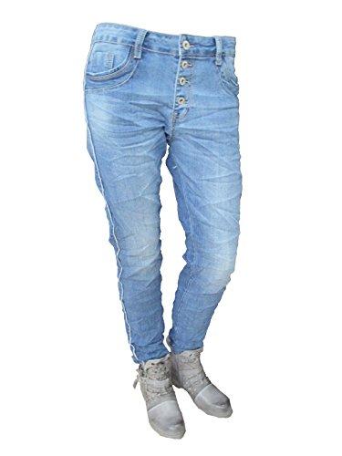 ouverte rayures GRANDES Karostar 4 boutons copain TAILLES de boutons by Baggy range jeans Lexxury stretch Denim argente x6wOnz1U6q
