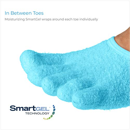 NatraCure 5-Toe Gel Moisturizing Socks (Helps Dry Feet, Cracked Heels, Calluses, Cuticles, Rough Skin, Dead Skin, Use with your Favorite Lotions, and Creams or Spa Pedicure) - 110-M CAT - Size: Medium