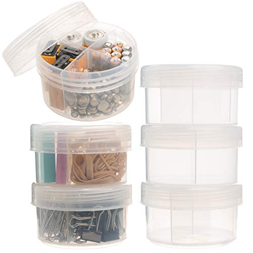 (Advantus Corp (6 Pack) 10oz Plastic Storage Containers with Dividers Lids Craft Desk Jewelry Organizer)