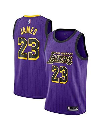 SCOCICI Men's Lakers James 23# City Edition Swingman Purple Jersey 2019 (Purple, XXL=54)