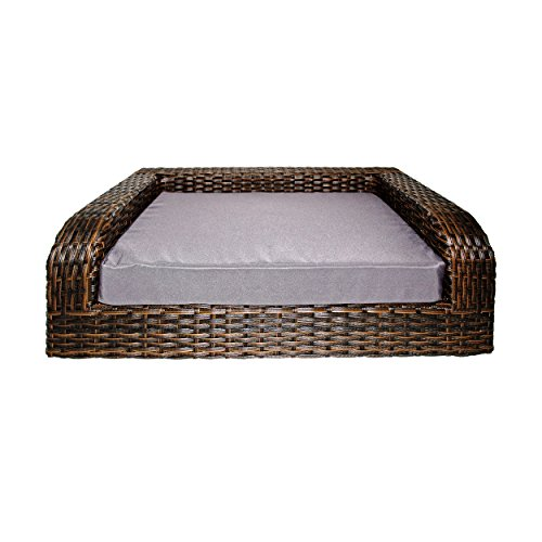 Iconic Pet Rattan/Wicker Pet Sofa Bed - Sofa Made of Woven Palm Stems of Rattan with Metal Frame, Indoor/Outdoor Sofa and Water Resistant Cushion Cover, Elegant Pet Bed for Dogs/Cats up to 50 lbs