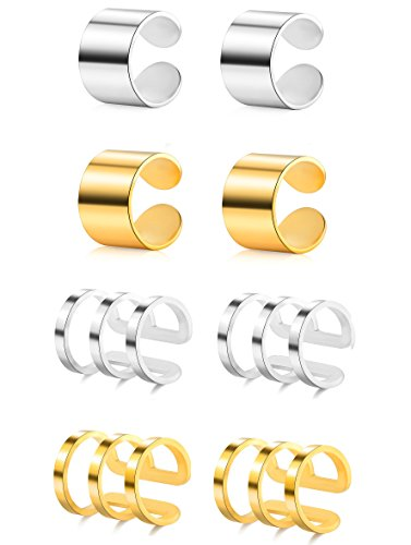 (Tornito 4 Pairs Stainless Steel Ear Cuff Helix Cartilage Clip On Wrap Earrings Fake Nose Ring Non-Piercing Adjustable (F:4 Pairs, Silver&Gold Tone))