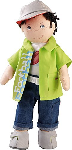 HABA Boy Doll Steven 15 Soft Doll with Dark Hair, Grey Eyes