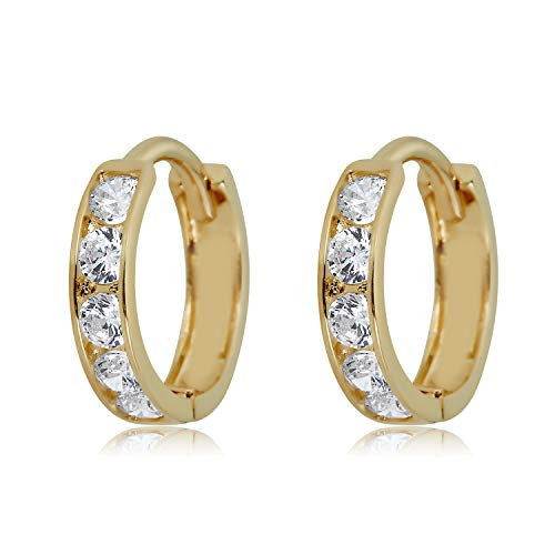 (10K Yellow Gold Small Simulated Diamond CZ Huggie Hoop)