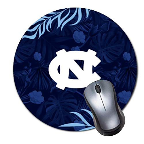 Heroa Round Mouse Pad Custom,UNC Logo Tropical Hawaiian