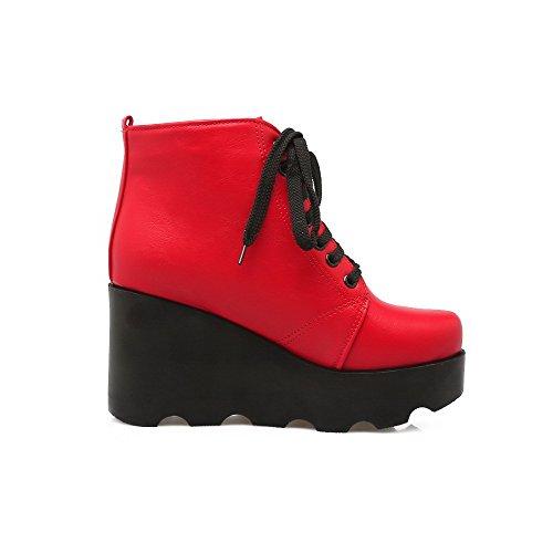 AllhqFashion Mujeres Cordones Puntera Redonda Cuña Plataforma Caña Baja Botas Rojo