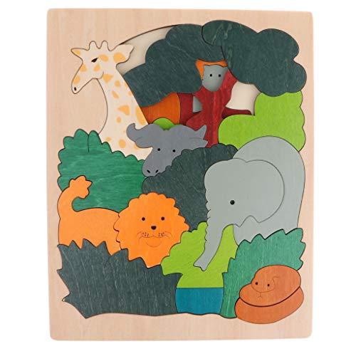 [해외]P Prettyia 다층 원목 동물 퍼즐 어린이 교육 완구 4 색-기린 / P Prettyia Multilayer Wooden Animal Puzzle Jigsaw Puzzle Kids Educational Toys 4 Colors - Giraffe