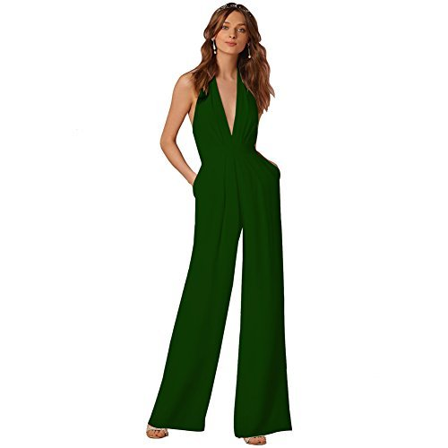 Lielisks Sexy Jumpsuits Formal Sleeveless V-neck Halter Wide Leg Long Pants Dark Green M