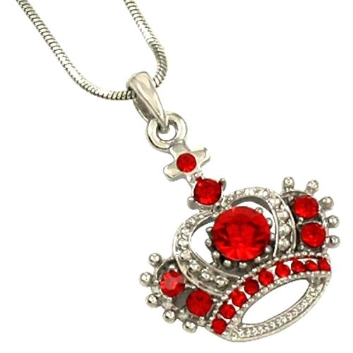 DianaL Boutique Princess Crown Red Crystal Charm Pendant Necklace 17