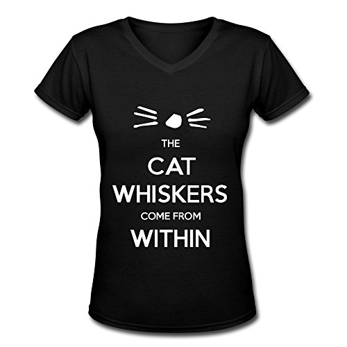 JeFF Women Dan And Phil Cat Whiskers V-Neck T-shirt Medium (US Size) -