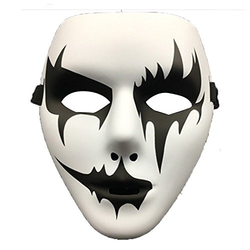 (Face mask Shield Veil Guard Screen Domino False Front Halloween Makeup Prom Hand Painted White Ghost Dance Mask)