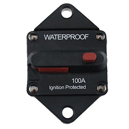 Iztoss 100A Waterproof Circuit Breaker Fuse Inverter with Manual Reset Button for Truck RV Marine trailer Reset Circuit Breaker Hardware