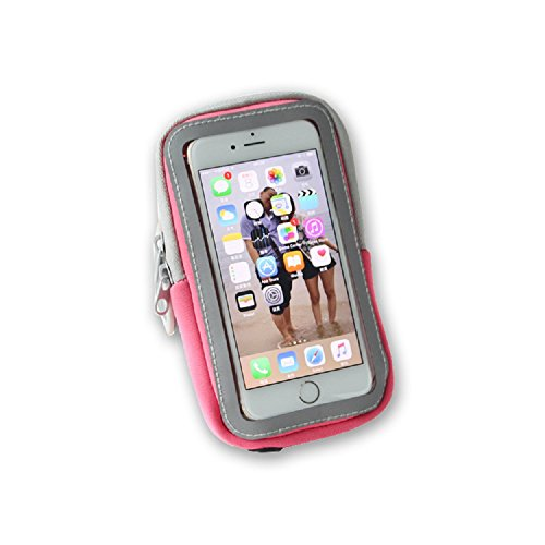 iPhone 6 6S iPhone 7 Plus Sports Armband Sweatproof Running Armbag Gym Fitness Cell Phone CaseHolder Wallet Card Slot 5.5 Inch Universal For Samsung Glaxy S6 S7 S8 edge Exercise Climbing [Pink] (Microfiber Shell Youth)