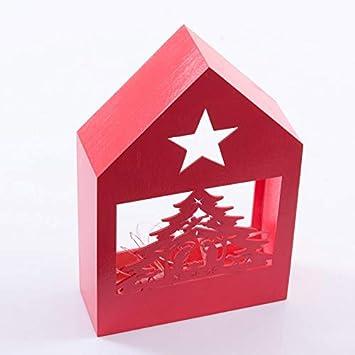 DiKasa - Caseta roja con árbol de Navidad y Luces LED, 18 x 6 x 27 cm: Amazon.es: Hogar