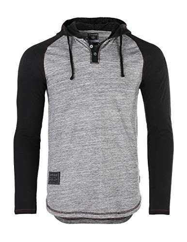 - ZIMEGO Men's Contrast Long Sleeve Round Bottom Raglan Hoodie Henley T-Shirts Heather/Black