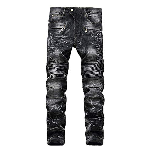 Men's Pants, KpopBaby Slim Jeans Denim Folds Wash Work Frayed Trousers Zipper Basic Pants ()