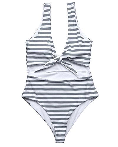 RUUHEE Women Cheeky High Waisted One Piece Swimsuits Tie Knot Bikini Swimwear (S(US Size 2-4),Gray)